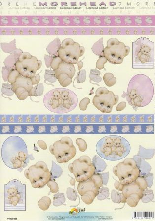 Morehead New Baby Teddy Bear With Booties 3D Decoupage Sheet